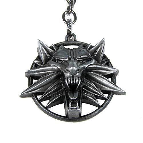 Amycute The Witcher 3 Collier Pendentif Tête de Loup Médaillon Wizard Collier Loup pour Fête d'anniversaire Cadeau (Argent)