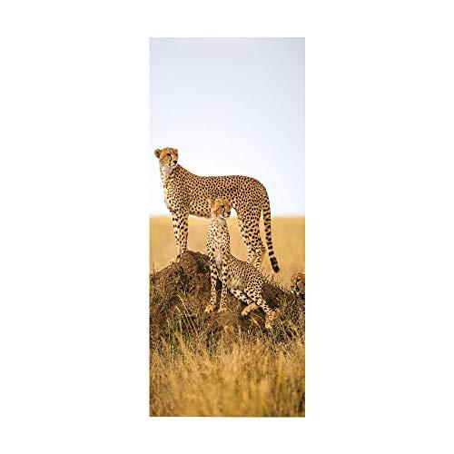 KEXIU 3D Dos leopardos PVC fotografía adhesivo vinilo puerta pegatina cocina baño decoración mural 77x200cm