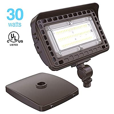 HYPERLITE 30W LED Flood Light 3,600Lm 5000K (100W Equivalent) with Knuckle and Wall Mounting IP65 Waterproof Super Bright LED Security Light for Entrance Garden Yards Lawn UL Listed