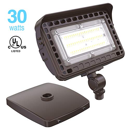 HYPERLITE 30W LED Flood Light 3,600LM 5000K (100W Equivalent) with Knuckle Mount and Wall Mount IP65 Waterproof Super Bright LED Security Light for Doorways Garden Backyards Lawns UL Listed