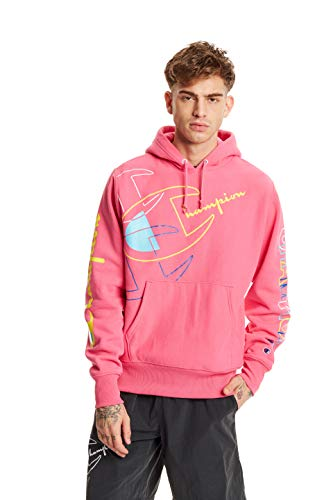 Champion LIFE Men's Reverse Weave Pull Over Hood-Print, Reef Pink, Medium