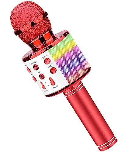 Microfono Karaoke, Wireless Bluetooth LED Flash Microfono con Altoparlante, Portatile Karaoke Player Compatibile con Dispositivi Android e iOS per KTV di Casa Festa Canto per Bambini (Rosso)