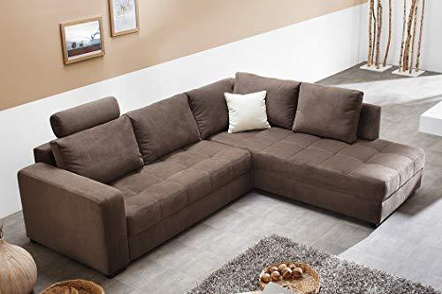 expendio Polsterecke Aurum Mikrofaser braun 267x221cm Bettfunktion Sofa Couch Wohnlandschaft