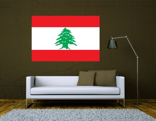 Kiwistar Wandtattoo Sticker Fahne Flagge Aufkleber Libanon 120 x 80cm