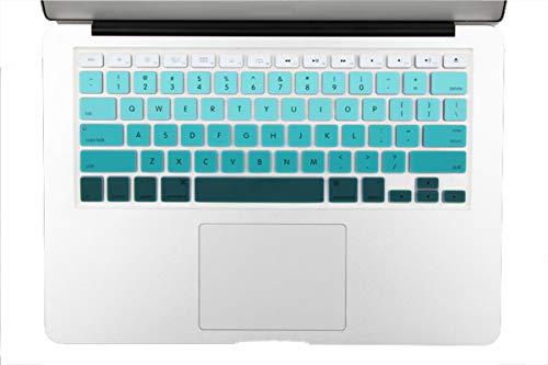 Gradiente Color Silicona UE Francés AZERTY Español US Inglés Teclado Cubierta Piel Para Macbook Pro 13 '15' Aire 13 'A1466 A1502 A1314-US Inglés verde