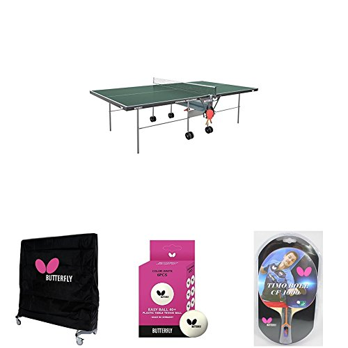 Purchase Butterfly Personal Table Tennis Table in Green with Weatherproof Cover, 2 Timo Boll Carbon ...