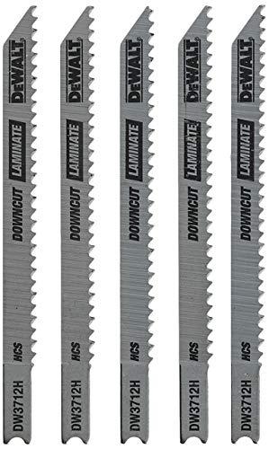 DEWALT Jigsaw Blades, Laminate Down Cutting, U-Shank, 4-Inch, 10-TPI, 5-Pack (DW3712H)