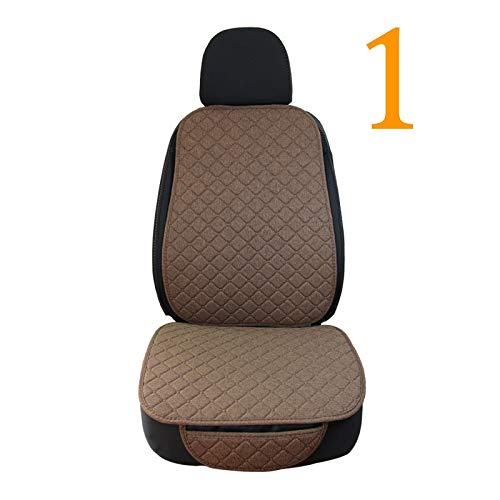 LQW HOME Auto Chair Cushion Linen Flax Car Seat Cover Protector Front Seat Back Cushion Pad Mat Auto Front Automotive interior Styling Truck SUV or Van Skid resistance (Color : 1 front coffee)