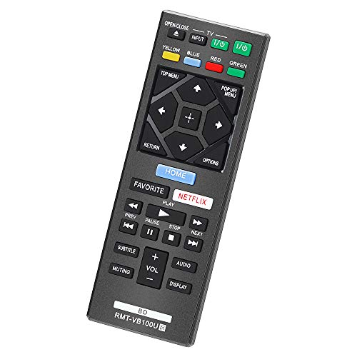 CtrlTV Remote for Sony Blu-Ray Remote and Sony Blu Ray DVD Player BD Disc 3D Streaming 4K Ultra HD UHD HDR Home Theater BDP Series Player RMT-VB100U with Netflix