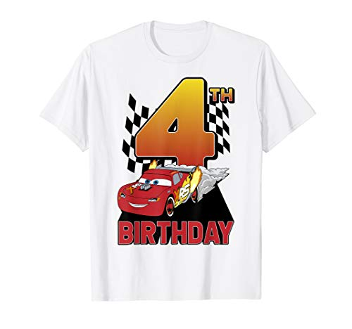Disney Pixar Cars Lightning McQueen 4th Birthday Peel Out T-Shirt