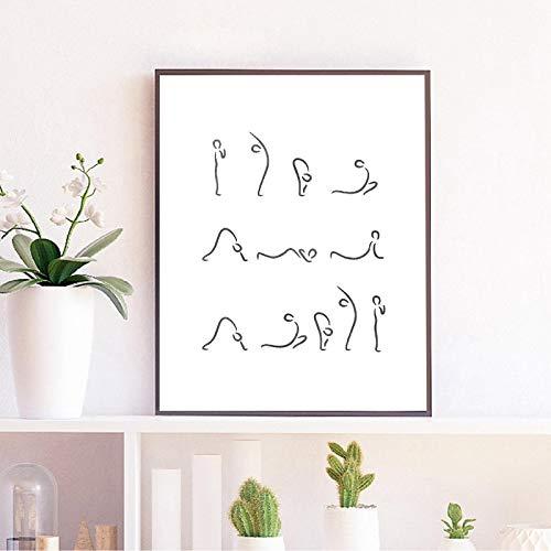 Ilustración de yoga Gimnasio Decoración de pared Impresión Saludo al sol Postura Postura de yoga Póster Meditación Arte de la pared Pintura en lienzo 20x30cm (8x12in) Con marco