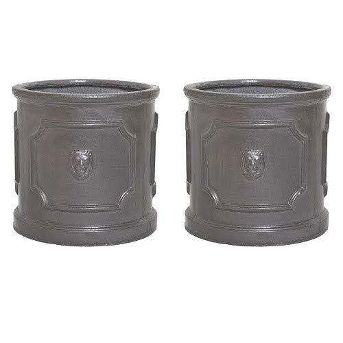 Pair of Clayfibre 27cm Faux Lead Lion Head Cylinder Planters/Plant Pot Container/Garden Feature/Gift