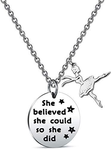 """Collana da danza con scritta in lingua inglese """"She Believed She Could So She Did"""", idea regalo per ballerini e st, colore: Argento, cod. NA"""
