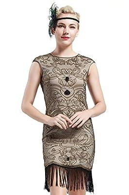 BABEYOND Vintage 1920s Gatsby Beaded Embellished Fringed Flapper Dress Beige