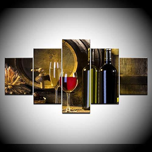 KJLTLD Cuadro en Lienzo 5 Piezas - Copa de Vino Tinto barrica de Roble - 150x80cm/60x32inch Pintura de decoración del hogar de la Pared - DA84532FA
