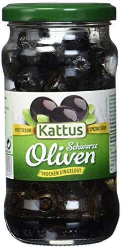 Kattus Schwarze Oliven, trocken eingelegt, mit Stein, 8er Pack (8 x 230 g)