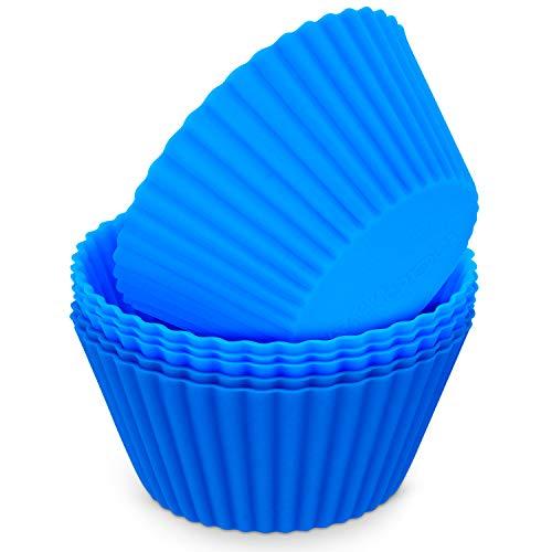MoNiRo 5er Pack Silikon Muffin Förmchen Blau - Wiederverwendbare Cupcake Backform aus Silikon - Muffin Form - Cupcake Form - Silikonbackform - Cupcake Förmchen - Muffinform Silikon