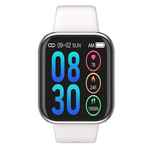 Sport Sicherheit FGF Smart-Armband wasserdicht Herzfrequenz intelligente Fitness Tracker Schlaf Monitor-Farbbildschirm Sportarmband (Farbe : Silicone White)