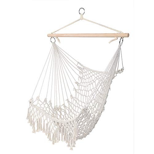 U-Kiss Hammock Chair Hanging Rope Swing-Max 250 Lbs,Cotton Rope Weaving Seat,Perfect for Yard, Bedroom, Patio, Porch, Indoor/Outdoor (Beige)