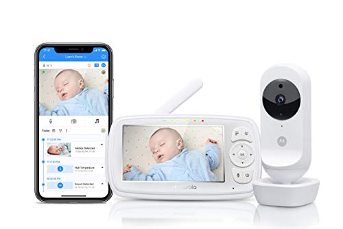 Motorola Ease 44 Connect - Wi-Fi Babyphone mit Kamera – 4,3 Zoll Video Baby Monitor HD Display - Hubble App - Nachtsicht, Wiegenlieder, Microfon, Raumtemperaturüberwachung - Weiß