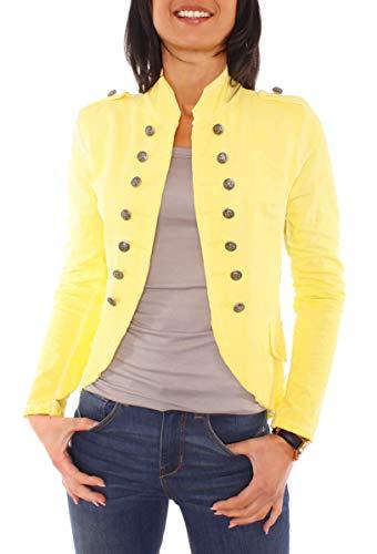 Easy Young Fashion Damen Vintage Military Jerseyblazer Gelb XS 34 (S)