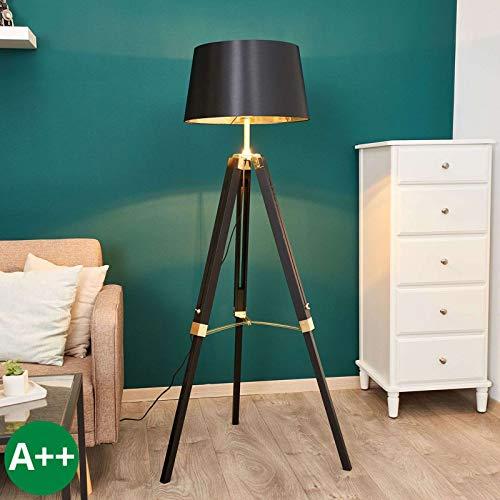 Lindby Dreibein Stehlampe 'Ellinor' (Modern) in Schwarz aus Textil u.a. für Wohnzimmer & Esszimmer (1 flammig, E27, A++) - Stehleuchte, Floor Lamp, Standleuchte, Wohnzimmerlampe, Tripod