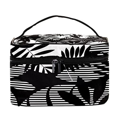 Bolsa de maquillaje portátil para viaje, bolsa de cosméticos, organizador de artículos de tocador para mujeres y niñas, hojas tropicales