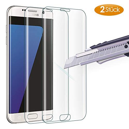 Carantee Panzerglas Schutzfolie für Samsung Galaxy S7 Edge, 9h Härte Anti-Kratzen Panzerglasfolie, Anti-Öl Anti-Fingerabdruck Schutzglas, Kristallklar Displayschutzfolie [2 Stück]