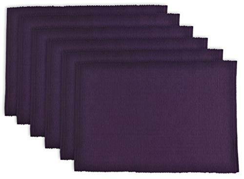 DII 100% Cotton Basic Ribbed Placemat Set, Eggplant 6 Count