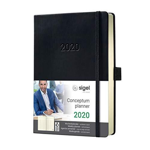 SIGEL C2019 Agenda settimanale 2020, ca. A5, nera, copertina rigida, suddivisione verticale, Conceptum