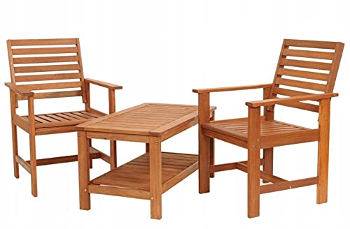 QLS Gartenmöbel Set 2 Stühle Tisch Gartentisch Gartensessel Gartenstühl Kaffetisch Holz