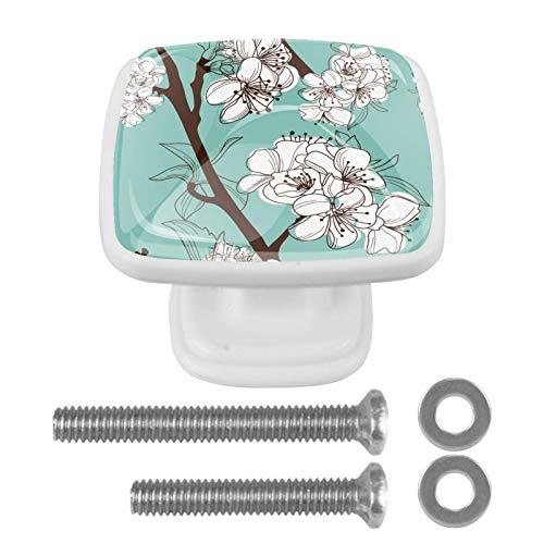 4 pomos cuadrados para puerta – pomos de cristal con tornillos para el hogar, cocina, oficina, cajón, fondo blanco y verde