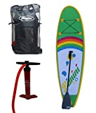 Bimini H2O Gear Inflatable Kids Stand Up Paddle Board Kit with SUP with 2 Way Pump, Carry Bag & 2 Piece Paddle - 9-Feet X 4-Inch Thick