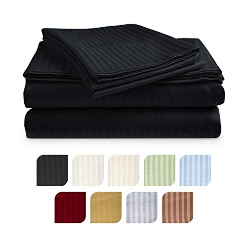 Crystal Trading 4-Piece Bed Sheet Set - Dobby Stripe - Microfiber - (King, Black)