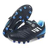 Zapatillas de Fútbol Niño Spike Botas de Fútbo Libre Atletismo Zapatos de Entrenamiento Profesionales Césped Artificial Zapatos de fútbol Training Transpirable Bota de Rugby Unisex Negro 34