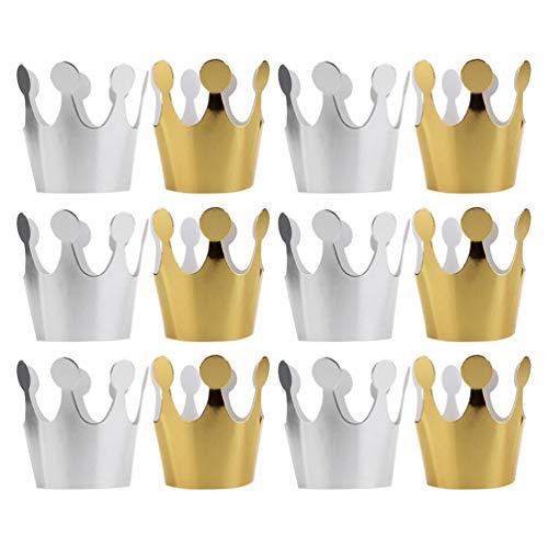 Minkissy Or Argent Papier Couronnes de Fête 12 Pcs Chapeaux D'anniversaire Couronne Papier Fête Chapeau Chapeaux de Princesse pour La Fête D'anniversaire Baby Shower Photo Props