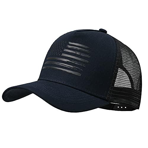 VIONLAN Baseball Cap American Flag Trucker Hat for Men Women 3D Embossed Logo Adjustable Outdoor Mesh Snapback Hat