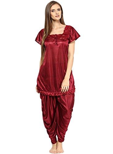 Fashigo Women's Nightdress (Set)(FASNW038_Maroon_Free Size)