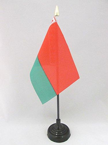 AZ FLAG TISCHFLAGGE WEIßRUSSLAND 15x10cm goldene splitze - WEIßRUSSISCHE TISCHFAHNE 10 x 15 cm - flaggen