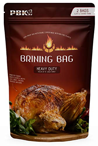 Large Turkey Brine Bags Heavy Duty for Turkey or Ham, 2 pack, with Cooking Twine