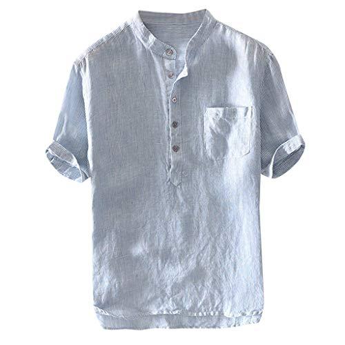 Yowablo Herren Leinenshirt Kurzarm Stehkragen Leinen mit Brusttaschen Sommer Slim Fit Casual Leicht Freizeit Shirts für Männer (XL,3Blau)
