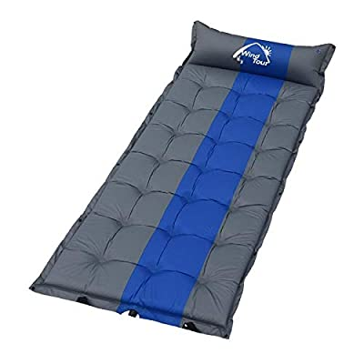 Wind Tour Sleeping Pad Self Inflating with Pillow for Camping - Lightweight Air Mattress for Backpacking, Hiking, Traveling (Blue-74.8 x 29.5 Inches)