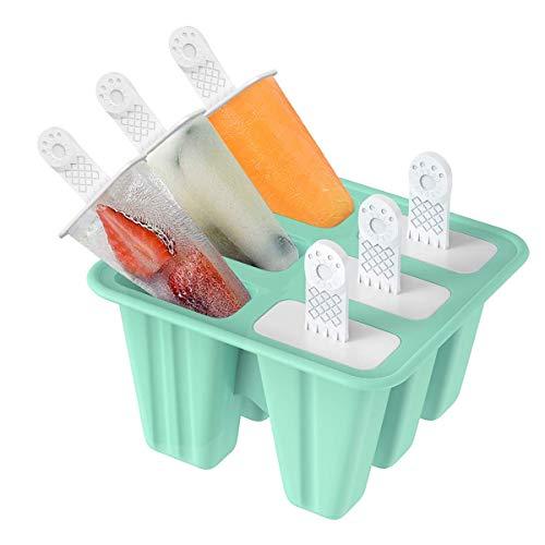 Eisformen, TAIYUNWEI 6 Eiscremeform, FDA-zertifiziertes & BPA frei Eisform Silikon, Popsicle formen mit 6 Stöcken, DIY Eisförmchen Silikon, Wiederverwendbar, Leicht zu Reinigen.