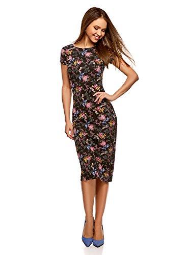 oodji Collection Damen Midi-Kleid mit Ausschnitt am Rücken, Schwarz, DE 36 / EU 38 / S