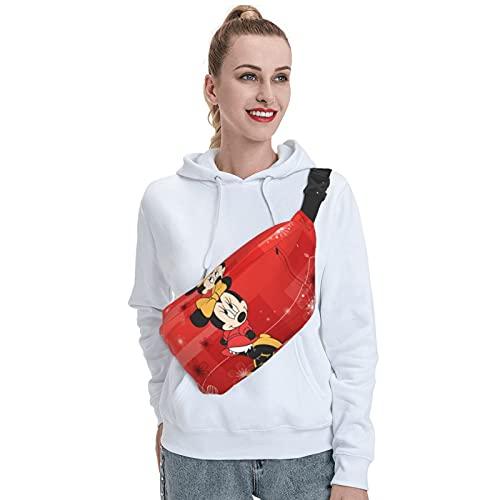 Skylivenation Mochila bandolera de Mickey Mouse y Minnie Mouse, resistente al aire libre, mochila cruzada de pecho antirrobo, ligera, mochila de viaje para hombres y mujeres.