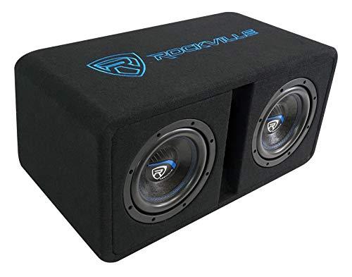 Rockville DV8K52 Dual 8' K5 1600w Car Subwoofers+Vented Sub Enclosure Box/2 Ohm