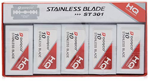 Dorco Stainless Steel Razor Blades, 100-Count Dispenser Pack