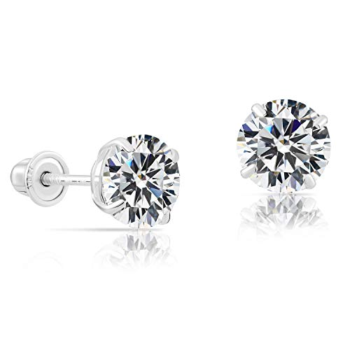 14k White Gold Solitaire Round Cubic Zirconia CZ Stud Earrings in Secure Screwbacks 6mm