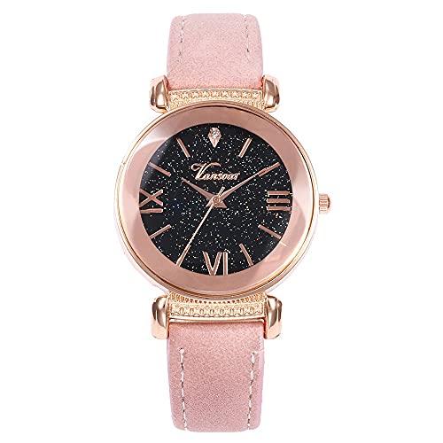 CXJC Números Romanos Cielo Estrellado con Incrustaciones con Reloj de Cuarzo de Las señoras de Rhinestone. Reloj Decorativo Sub-dial Redondo de 33 mm (Color : F)