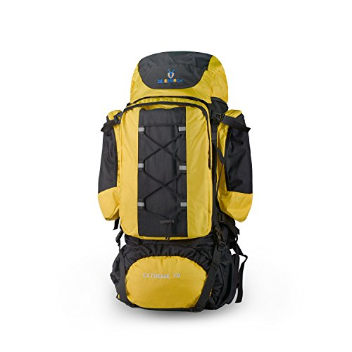 Vovoly Hiking Backpack, 75L Large Unisex Trek Rucksack, Durable Waterproof Camping Travelling Bag with Rain Cover, Top and Bottom Loading (Yellow)
